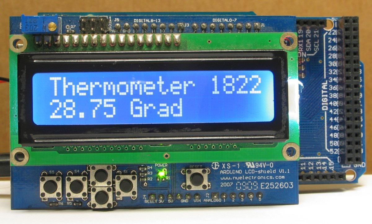 Dieser einfache Thermometer mit LCD-Anzeige arbeitet mit einem Temperatursensor DALLAS DS1822 bzw.