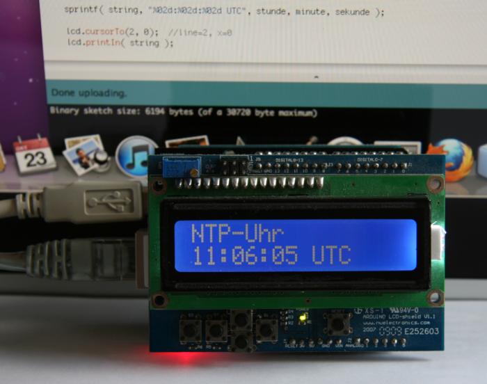 Arduino utc uhr mit anbindung an ntp zeitserver